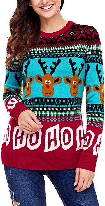 Sidefeel Women Reindeer HO HO HO Ugly Christmas Sweater XX-Large Red