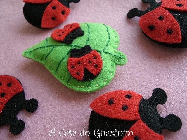 Felt ladybug on leaf idea