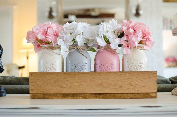 Jardinera rústica caja y 4 tarros de Mason por KatesLittleShop