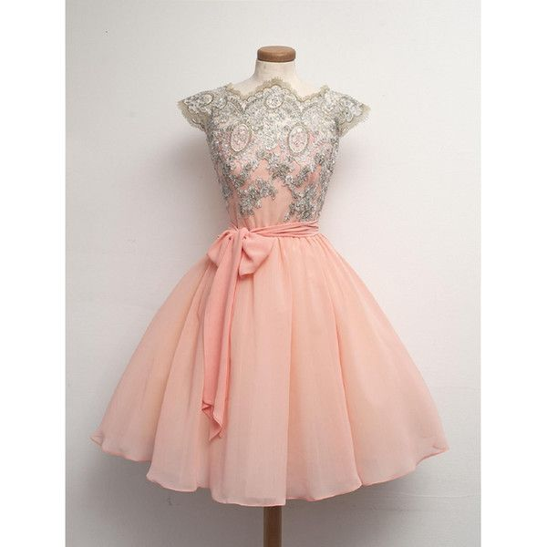 Real Photo Prom Dresses Short 2016 Pink Chiffon Appliques Lace High Neck Cap Sleeves A-line Sheer Online Store Vestidos De Fiesta Baratos