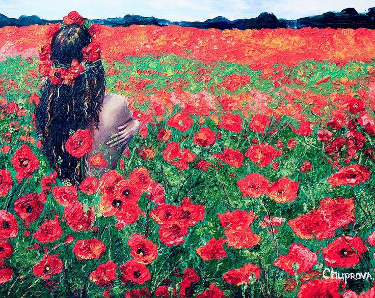 "poppy field - маковое поле ""Looking foward"" (40*50 oil/canvas, 2012)  ""Ожидание"" 40*50, холст/масло, 2012г  by Chuprova Margarita  on exabition till 20 of april . . ............................ на выставке в галерее StandArt Gallery (Красноярск) до 20 апреля  SOLD - ПРОДАНО"