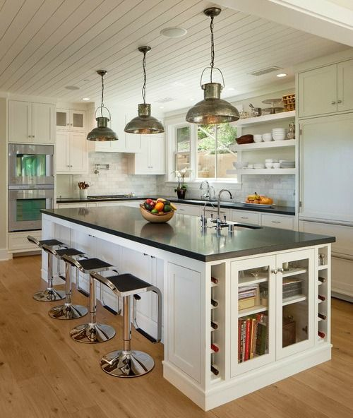 love this island. Has cupboards all around, with top extended to still fit stools underneath. Get rid of kitchen table= more room in kitchen!