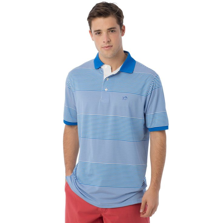 Match Point Stripe Performance Polo in Blue Stream by Southern Tide