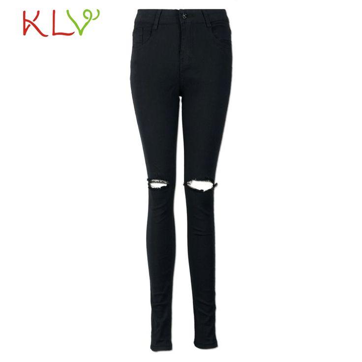 Women Slim Pencil Trousers Cool Ripped Knee Cut Skinny Long Jeans Pants221