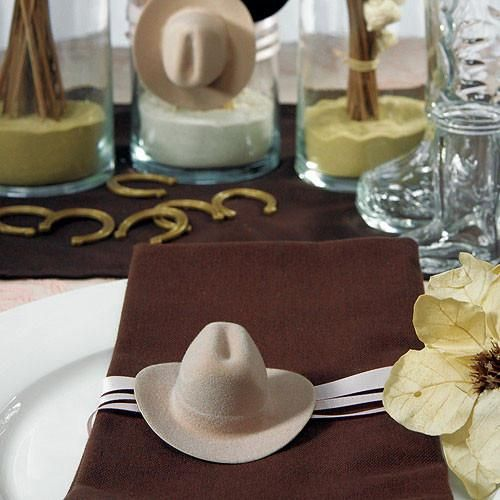 Perfectly petite mini western cowboy hat wedding party favors lend way to charm and style at your western or barn inspired wedding theme..Western Wedding Favors