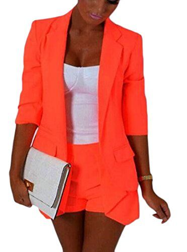 selx women 3 4 sleeve solid slim fit stylish short suit jackets