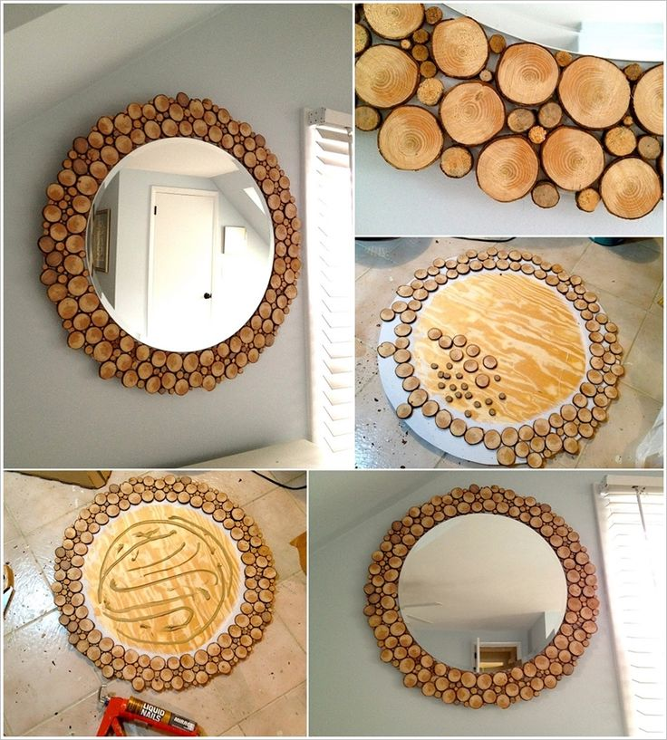 Amazing Interior Design Awesome Wood Slices Round Mirror to Decorate Your Blank Wall