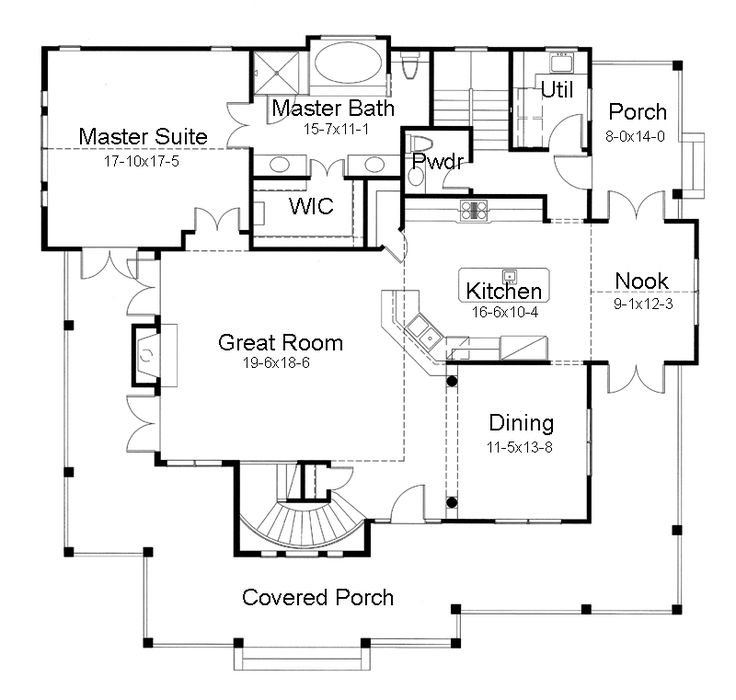 First floor plan of country farmhouse victorian house plan for Custom dream house floor plans