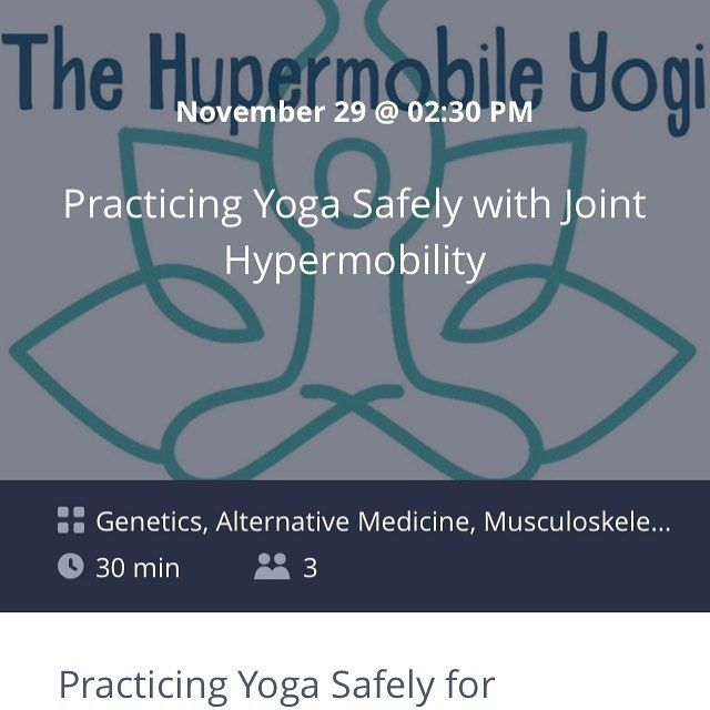 "Rescheduled broadcast earlier this month - Please join us November 29th at 02:30 PM EST via @ZubiaLive!  This live broadcast ""Practicing Yoga Safely with Joint Hypermobility"" can be viewed on ZubiaLive using your desktop (http://ift.tt/2iW81FB) or through the easy iPhone application (not currently available on Android devices) http://ift.tt/2zHpCJr. iPhone users can also interact with the host in real-time. Live broadcasts via Zubia can be public or private -- options I was looking for…"