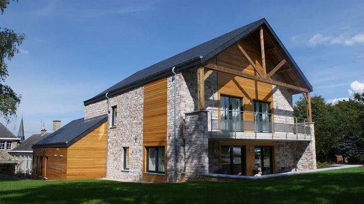 Maison passive en pierre et bois maison pierre bois en 2019 maison maison bois et maison - Maison moderne bois ...