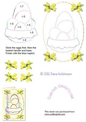 "Basket of Eggs on Craftsuprint designed by Diana Hutchinson - A stitching pattern of Easter Eggs in a basket with ""Happy Easter"" lettering and optional 3D. - Now available for download!"