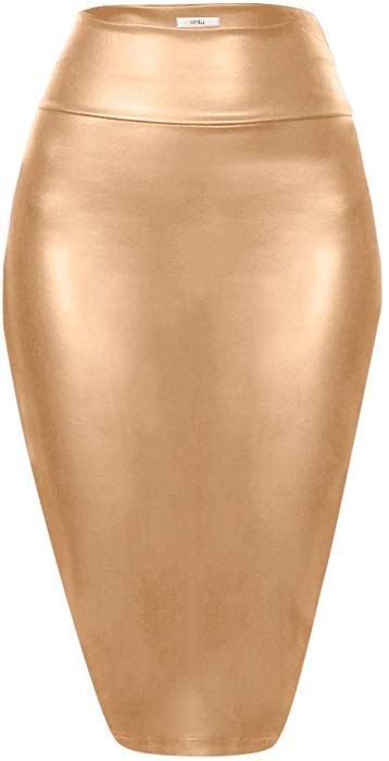 bb98ab280 Scuba Pencil Skirt Midi Bodycon Skirt Below Knee Skirt, Office Skirt High  Waist Mocha Leather Small at Amazon Women's Clothing store: