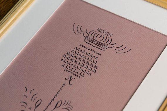 Thistle   letterpress flower print, set from metal type