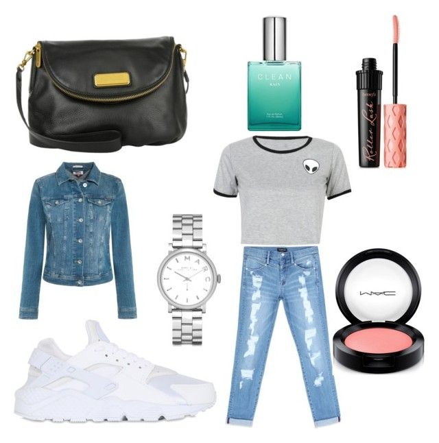 """Blå mandag tøj"" by emiliesevel on Polyvore featuring NIKE, Bebe, WithChic, Tommy Hilfiger, Marc by Marc Jacobs, Benefit and MAC Cosmetics"