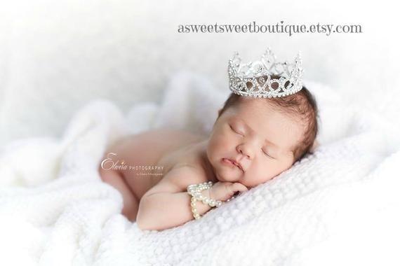 Crystal Tiara Headband Newborn Girl Photo Prop Crown Cake Topper Baby Gift Newborn Girl Rhinestone Crown Baby Crown Baby Headband