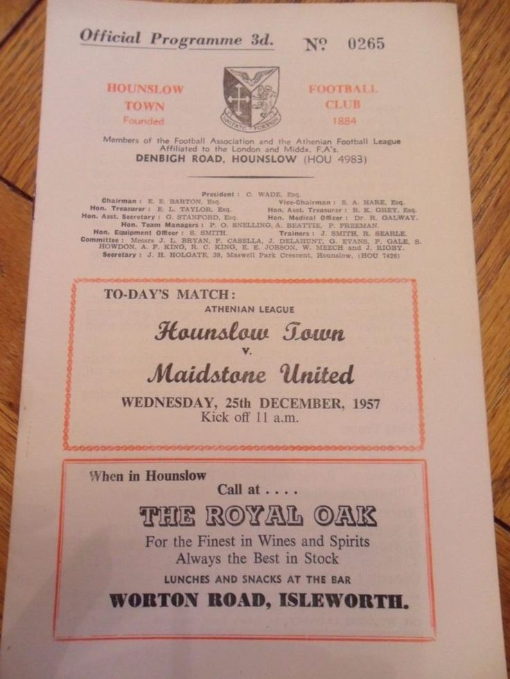 Hounslow Town V Maidstone United Football programme- 1957/58.