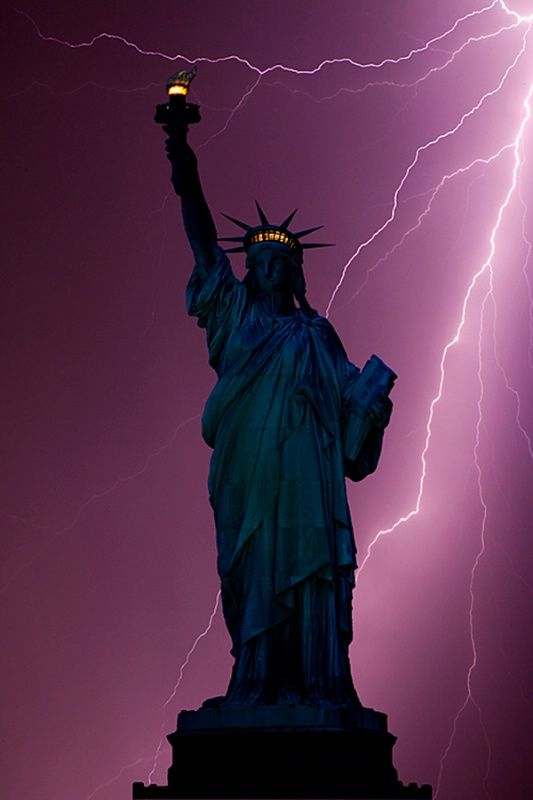 Statue of Liberty and lightning, New York