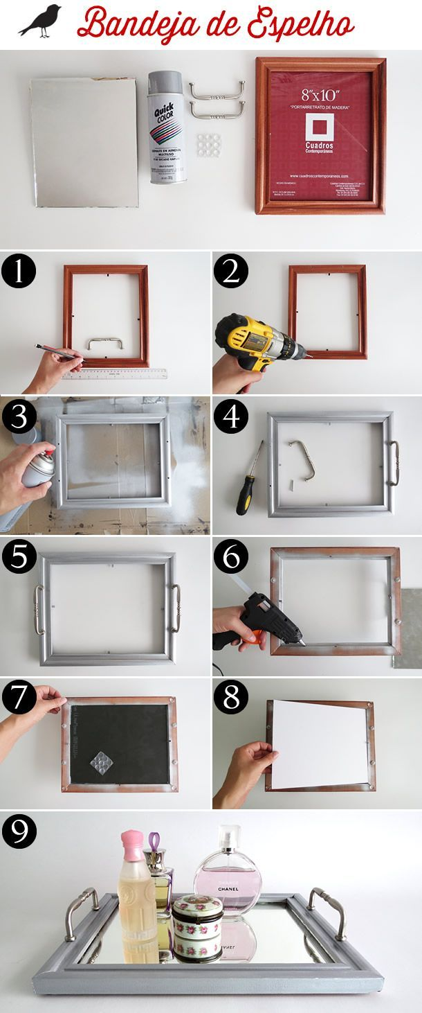 bandeja de espelho feita com moldura de quadro e puxadores de armário, diy, faça você mesmo, decoração casa, home decor:
