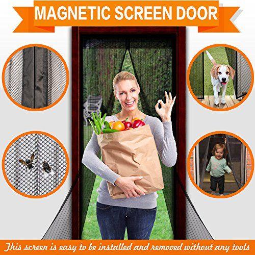 Magnetic Screen Door Mesh Screen Door, Full Frame Velcro Fly Mosquitos Bug  Insect Screen For