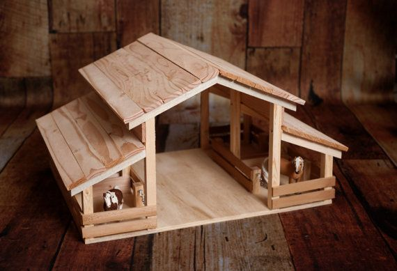Handmade Wood Toy Barn with 4 Stalls                                                                                                                                                                                 More