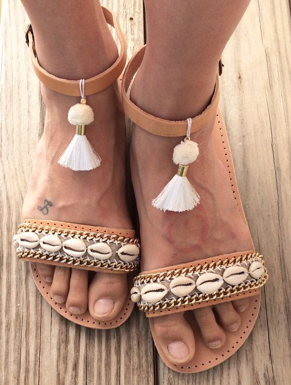 OOAK greek leather sandals with cowrieshells and gold plated chain, pompom & tassel