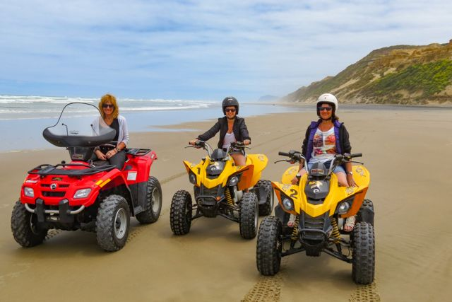 Baylys Beach Quad Bike Hire.   Baylys Beach Holiday Park have 5 quad bikes available for hire, allowing you to experience the thrill of driving along 'Ripiro Beach', New Zealand's longest drivable beach.  enjoy the thrill of driving along the flat beach only not on soft sand for safety reasons. 3 hrs either side of high tide.