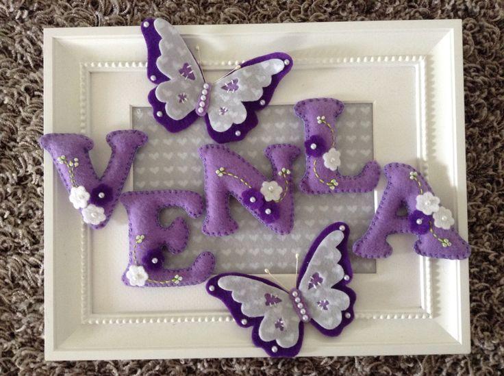 Felt name and butterflies