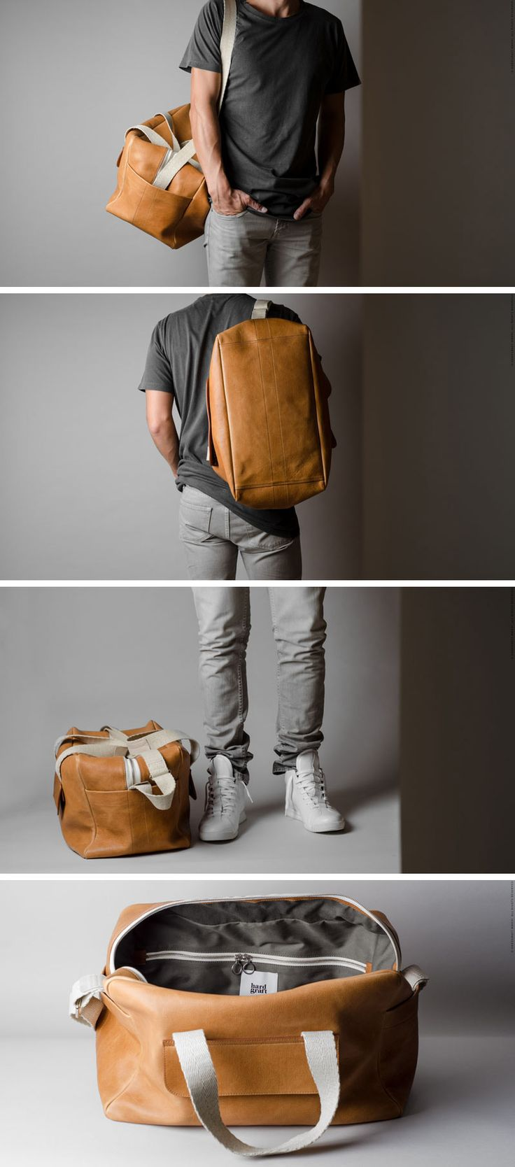 This modern, light tan leather duffel bag, adds a bit of color to your travels while still keeping things neutral and practical.