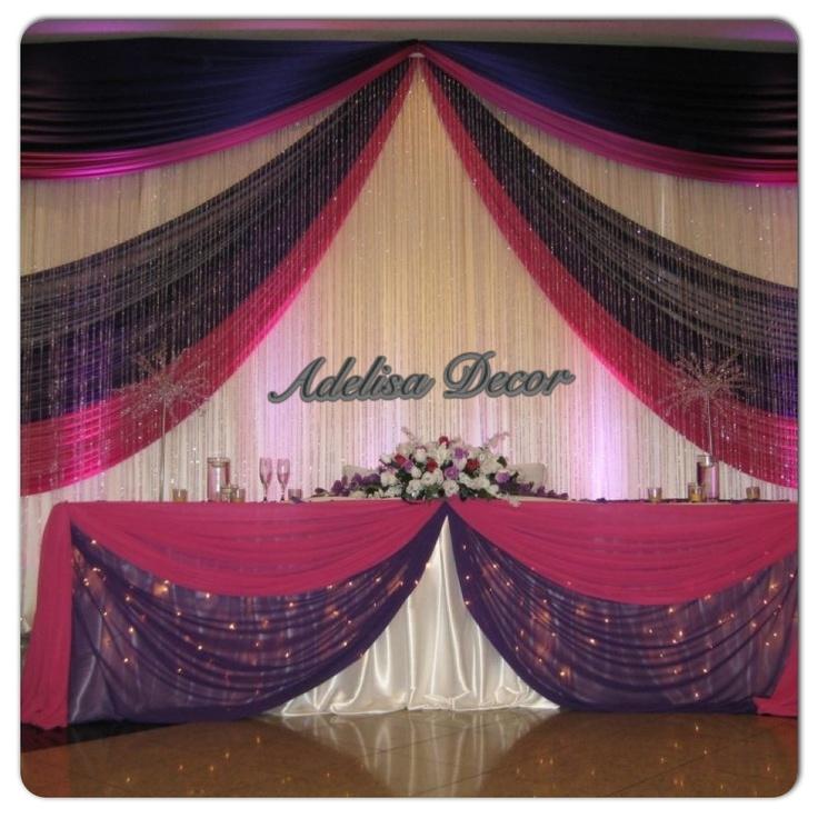 Elegant White Fuchsia Amp Purple Wedding Reception Backdrop