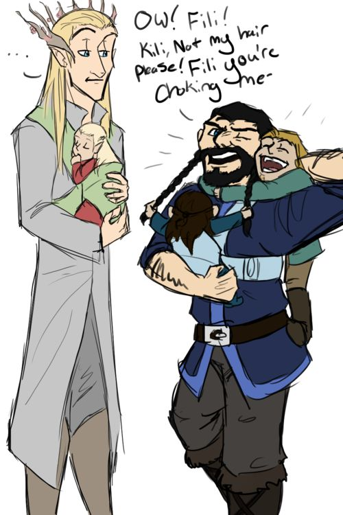 Thranduil and Legolas, then Throin & his two nephews; Fili and Kili