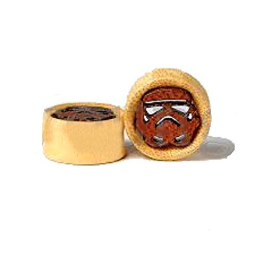 Astral Trooper/ Star Wars Storm Trooper Organic Natural Wood Double Sided Flare tunnels / plugs / solid Saddle (1 Pair) Hand Made //Price: $4.99 & FREE Shipping //     #starwarslife