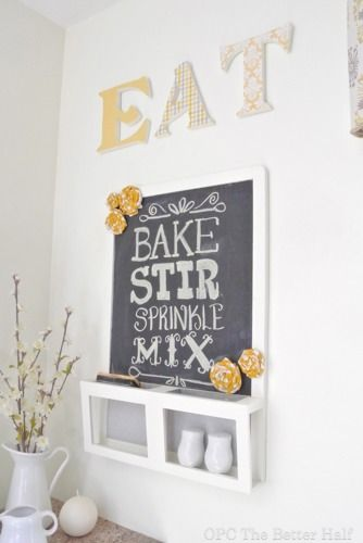 Super cute kitchen wall decor letters and chalkboard for Kitchen letters decoration