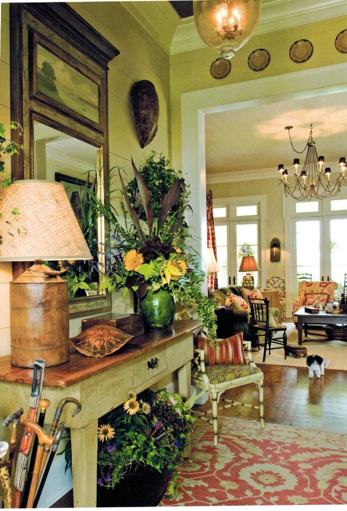 French Country Chandelier Entryway