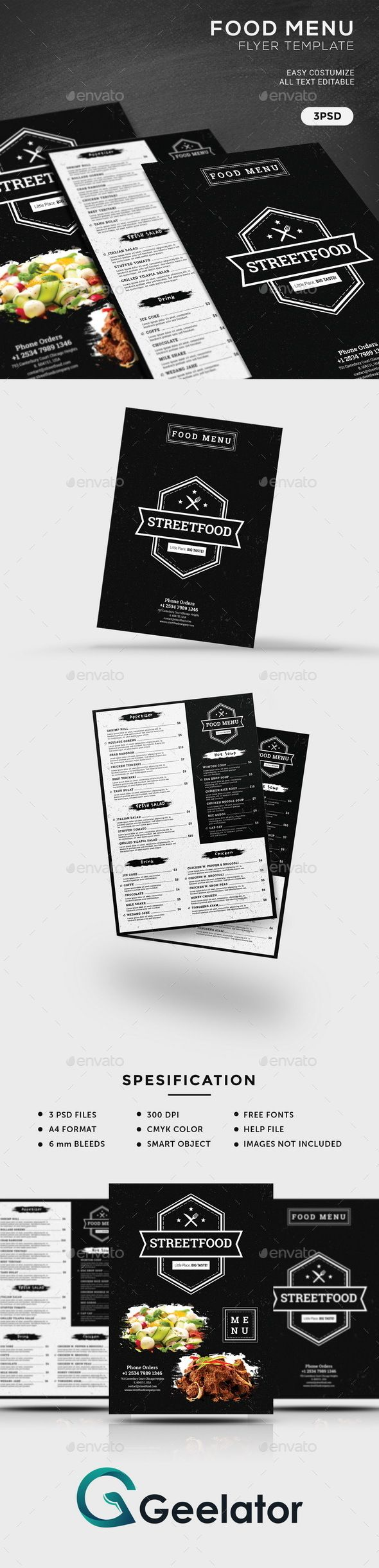Food Menu Flyer Template  Grunge and Vintage flyer template designed to promote your business and perfect for your restaurant promotion, a promotion that wrapped in a nice restaurant menu, coffee shop, cafe, and many more. You can easily edit this flyer template. You can change image with the smart object. You can resize all object without reducing the image quality. #advertisment #cafeflyer #cafemenu #coffeflyer #deliciousmenu #fastfood #fastfoodflyer #fastfoodrestaurant #foodflyer…