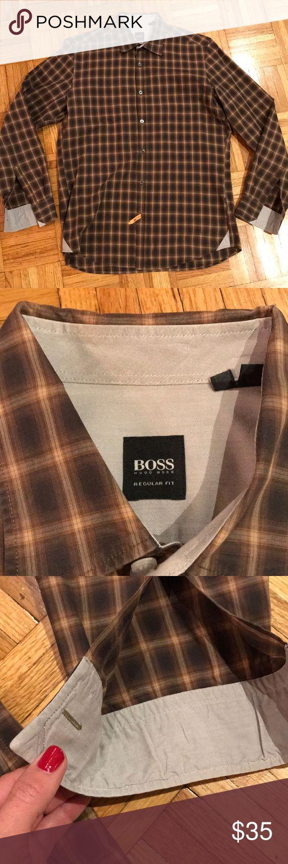 Hugo boss men's plaid button down medium Men's Hugo boss medium button down shirt excellent condition Hugo Boss Shirts Dress Shirts