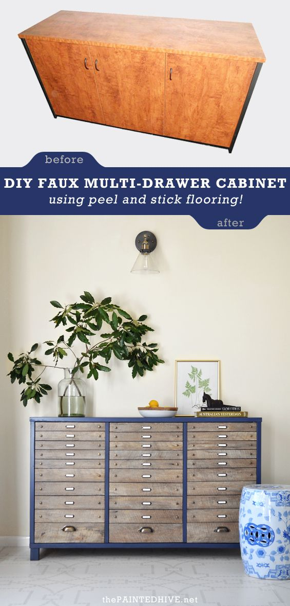 DIY Multi-Drawer Cabinet Makeover using peel and stick planks!
