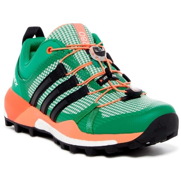 adidas Terrex Skychaser Sneaker ($80) ❤ liked on Polyvore featuring shoes, sneakers, green, adidas trainers, adidas footwear, lace up shoes, mesh sneakers and round toe shoes