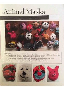 This was a really fun project I did with 2nd-5th graders. Definitely easier for the older kids! Objectives: 1. Students will become aware of reasons for masks in various cultures.2. Students will employ the principal of balance by creating a symmetrical mask. 3.