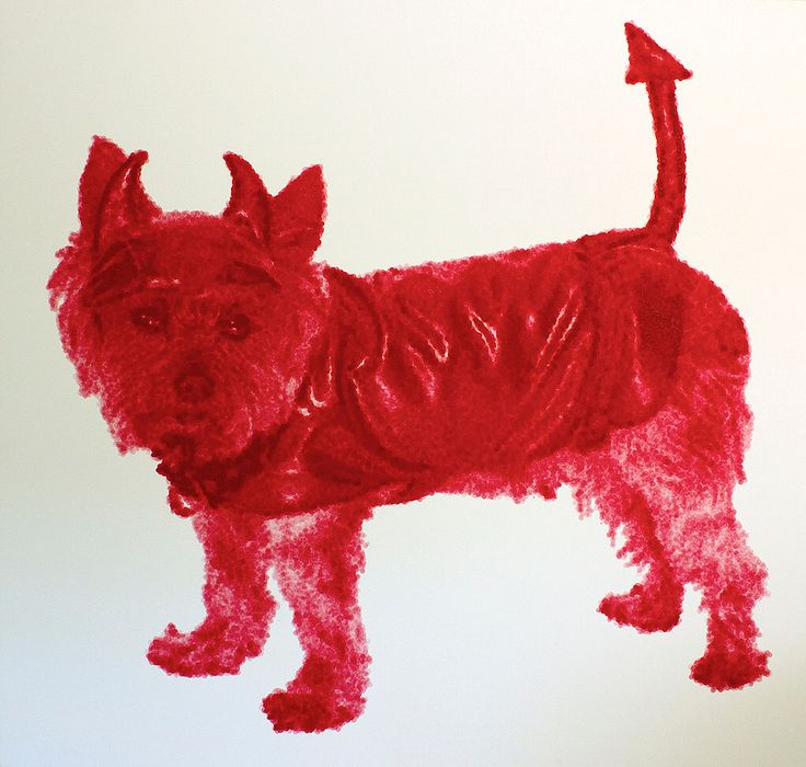 "El diablo, from ""things are like their owners"". #art #color #dog #acrylic"