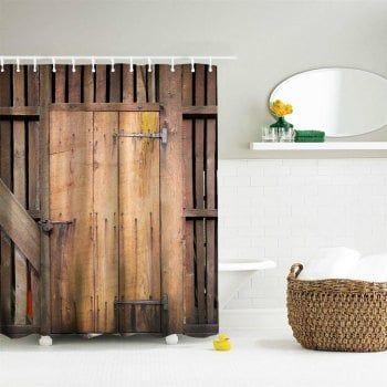The Barn Doors Polyester Shower Curtain Bathroom Curtain ...