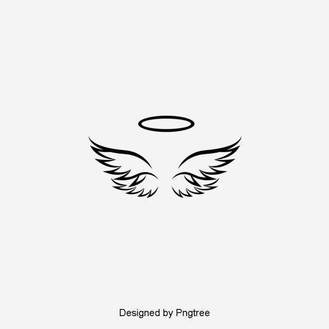 Silhouette Design Of Simple Angel Wings Minimalist Black And