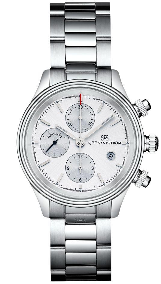 Royal Steel Chronograph 42 mm, silver dial with steel bracelet. #sjöösandström #sjoosandstrom #watch #watches #sweden #chronograph #classic