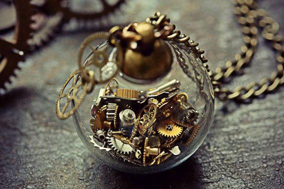 Steampunk - Steampunk Necklace Watch Part Pendant Steam Punk Jewelry Glass Orb Miniature Cogs Terrarium Swiss Gears Globe Sphere Cyberpunk Costume Clock by TheCreakingDoor
