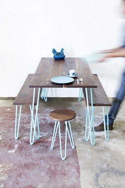 Hairpin Leg Dining Set - Walnut Wood