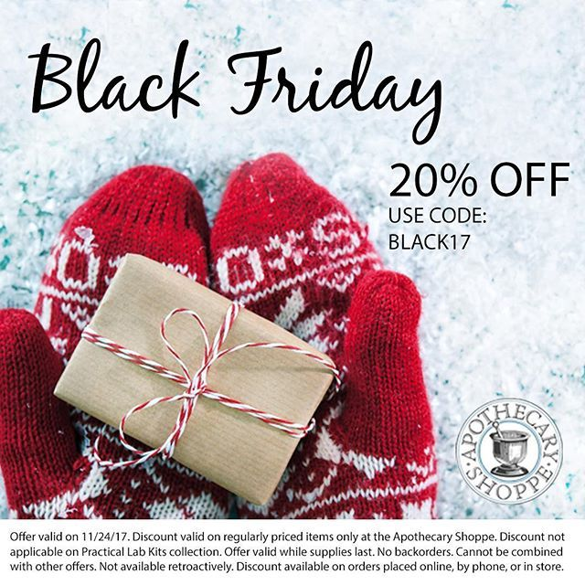 Self-care and intentional giving beats waiting in lines in the cold. Save 20% OFF on all regularly priced items like essential oils, herbs, and more with code BLACK17 at apothecary-shoppe.com! 🎁 #blackfriday #sale #holidaygifts