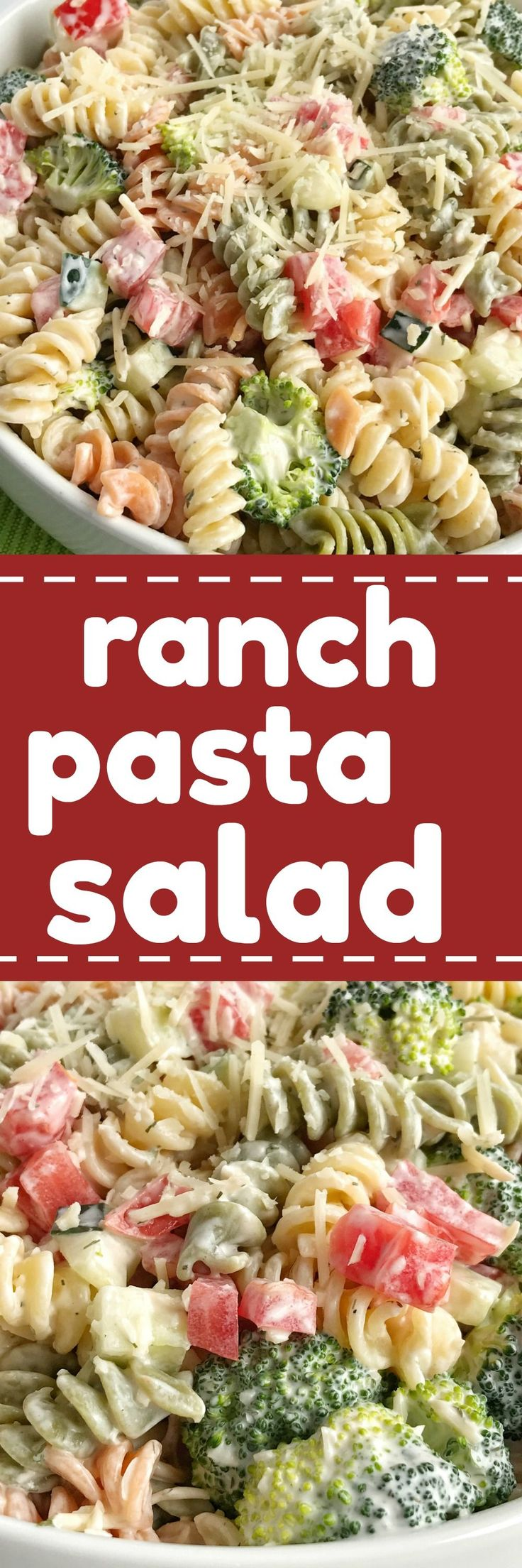 Ranch pasta salad is an easy and delicious side dish for summer picnics and bbq's. Only 6 ingredients and minutes to prepare. Tender pasta, cucumber, broccoli, tomatoes, and parmesan cheese covered in ranch dressing. So simple! #Recipes