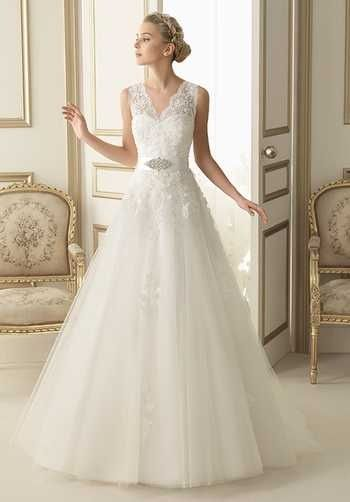 Beautiful Wedding Gown! #myfauxdiamond #bride #weddingdress  See our stunning bridal jewelry at http://www.myfauxdiamond.com/The-Bridal-Prom-Collection_c10.htm Luna Novias 164-ESTER