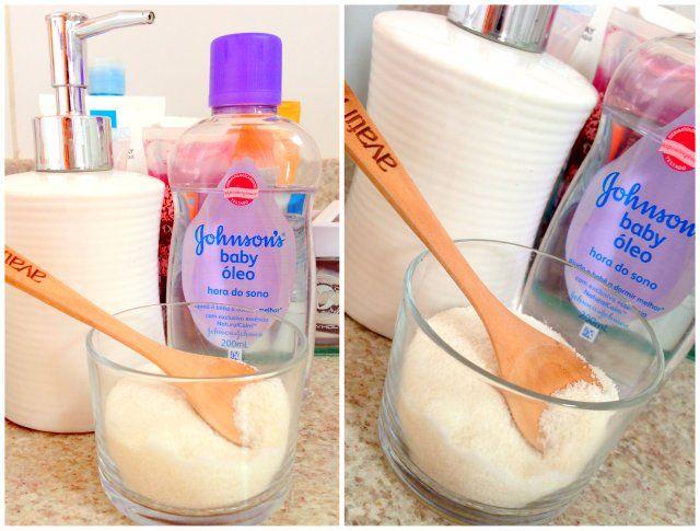 Sabonete esfoliante 20 ml de óleo (uso óleo infantil) 20 ml de sabonete líquido (pode ser qualquer um) 1 e 1/2 xícara de açúcar