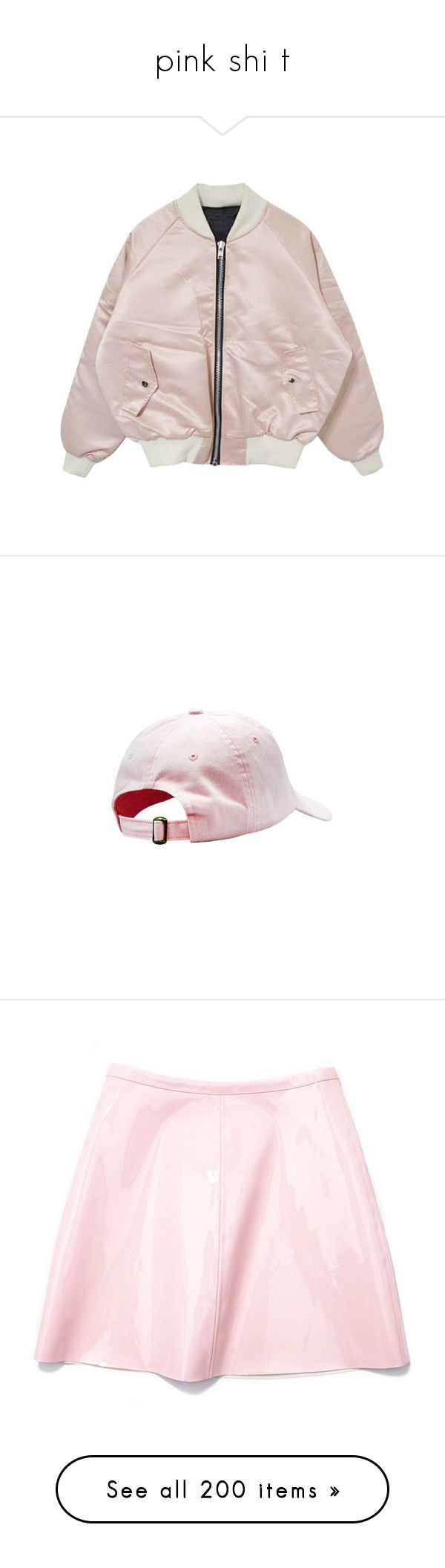"""""""pink shi t"""" by child-of-jove ❤ liked on Polyvore featuring outerwear, jackets, tops, coats & jackets, bomber jacket, pink flight jacket, blouson jacket, flight jackets, pink bomber jacket and accessories"""