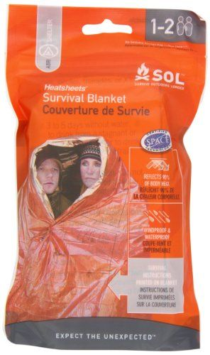 Adventure Medical Kits Sol Survival Blanket, Two Person, 3.2 Ounce Adventure Medical Kits Would be good if I needed to bundle up with my (little) kids to help bring up thier body temp/keep them warm.